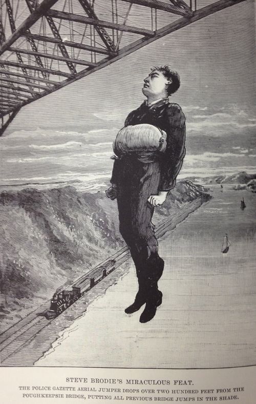 vintage police gazette illustration man jumping from bridge