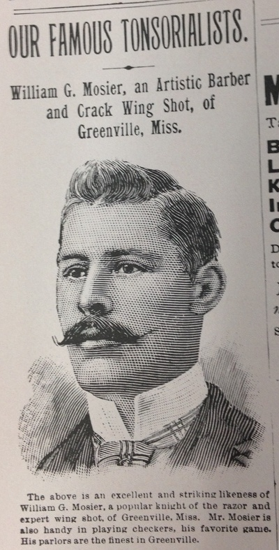 """Vintage illustration of """"our famous tonsorialists"""" barber of the month."""