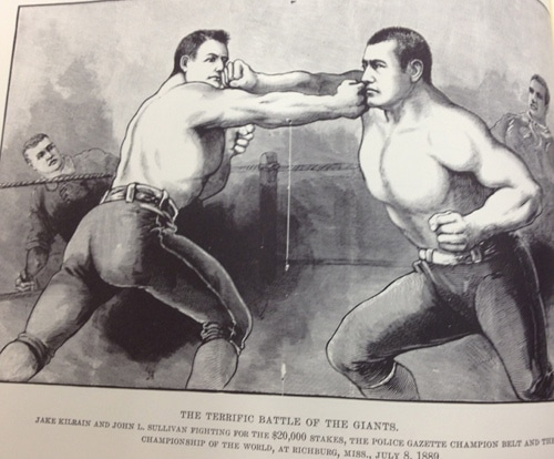 "illustration police gazette John L. Sullivan and Jake Kilrain battling for the ""Championship of the World."
