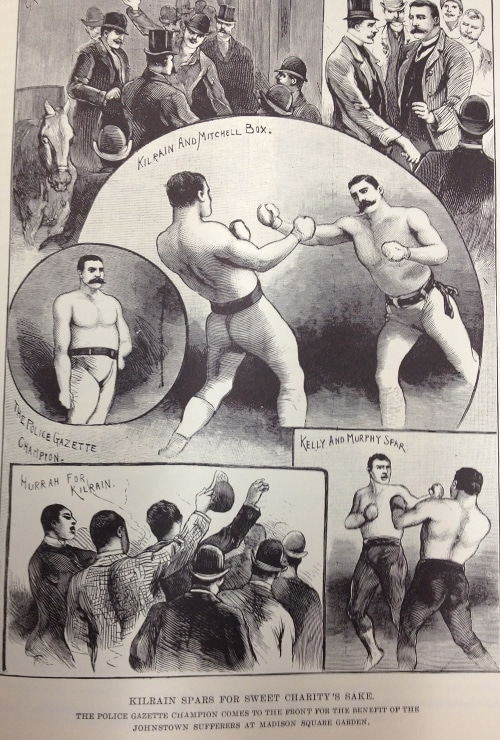 illustration Jake Kilrain charity fight Johnstown Flood police gazette