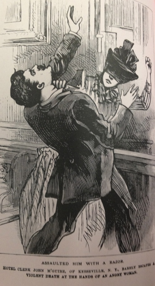 vintage illustration woman attacking man with straight razor