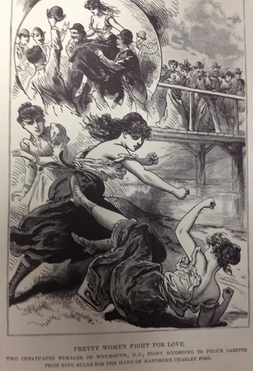 Vintage girls fighting illustration.