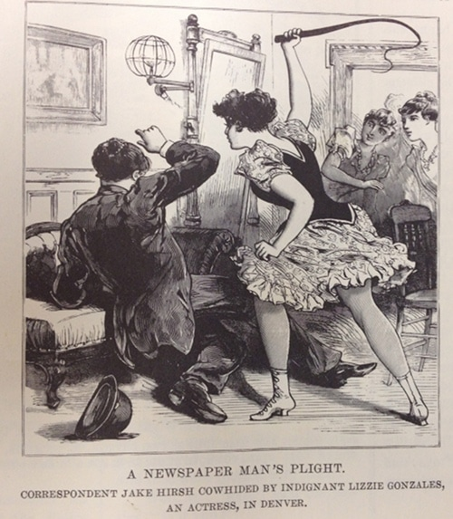 Vintage class conflict man and women titillating illustration.