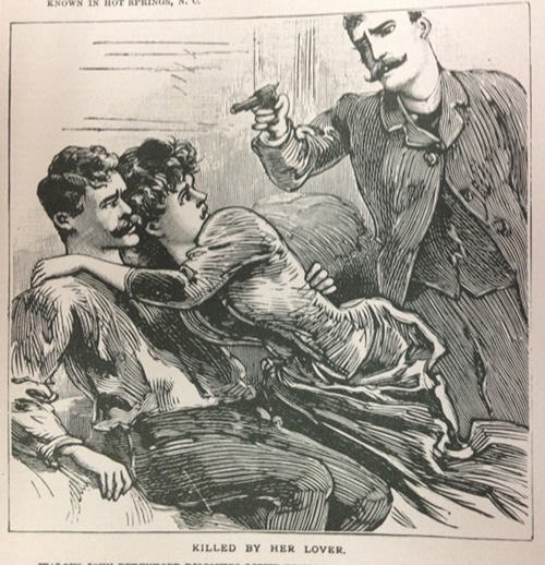 vintage illustration police gazette man with gun cheating girlfriend