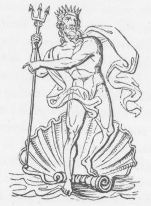 Poseidon (Neptune) greek god with trident clam shell