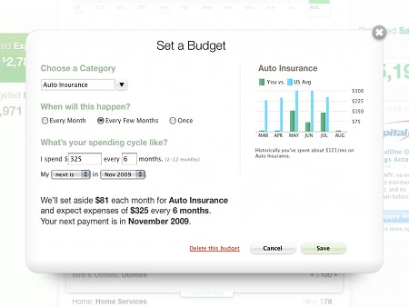 Mint app window to suggest budget.