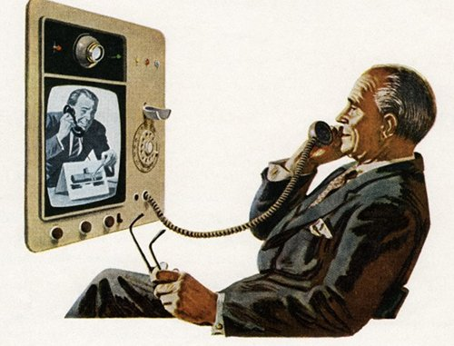 vintage man on video phone conference illustration