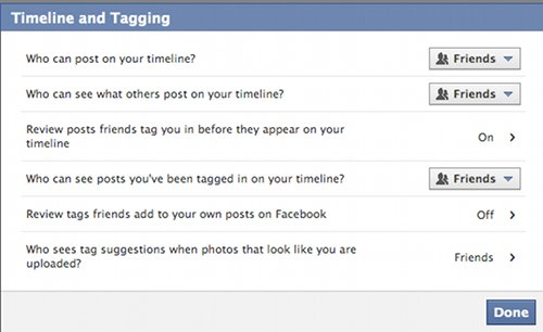 Vintage facebook page about timeline and tagging illustration.