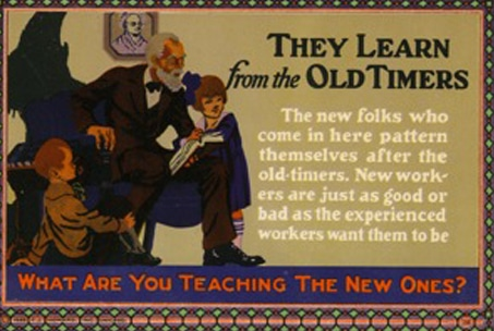 Vintage motivational business poster the learn from the old timers.