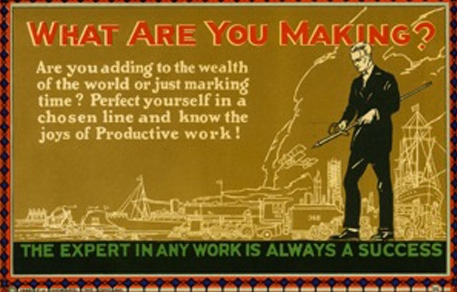 Vintage motivational business poster what are you making.