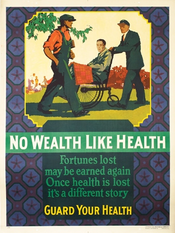 Vintage motivational business poster now wealth like health.