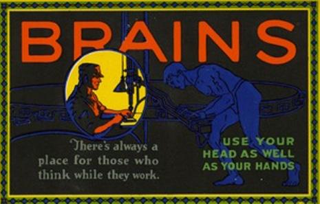 Vintage motivational business poster brains.