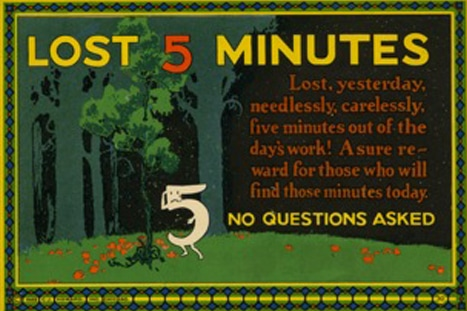 Vintage motivational business poster lost 5 minutes.