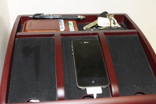 dresser valet catchall with phone keys wallet