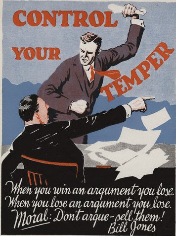 vintage motivational business poster control your temper