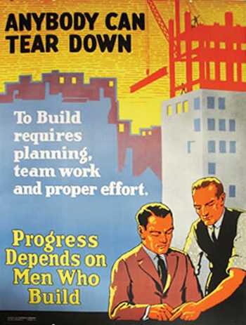 Vintage motivational business poster anybody can tear down.