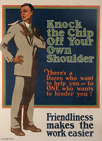 Vintage motivational business poster workers knock the chip of your own.