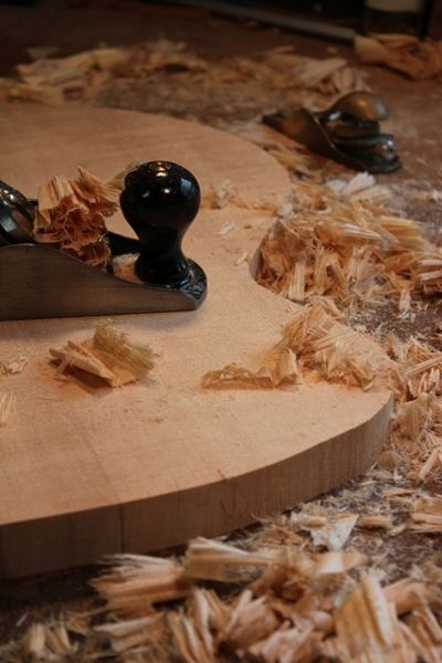 Wood panel of guitar.