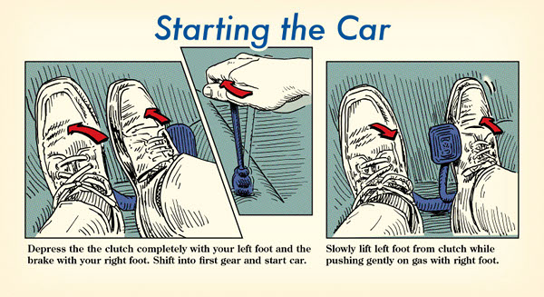 stick shift starting the car illustration diagram