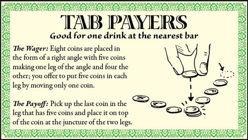 bar game trick eight coins right angle illustration