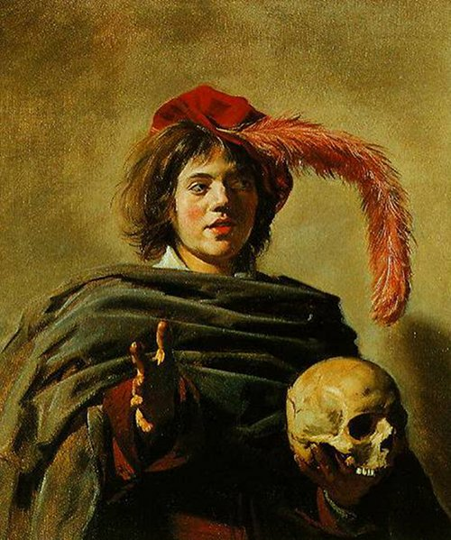 Young Man Holding a Skull by Frans Hals, 1626.