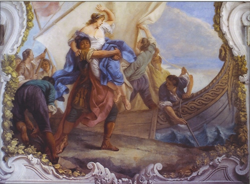 helen of troy being taken trojan war painting