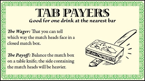 bar game trick match box heads table knife