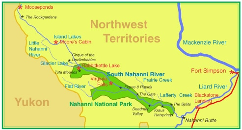 nahanni river map canoe trip canada