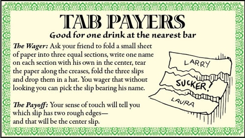 bar game trick name on paper illustration