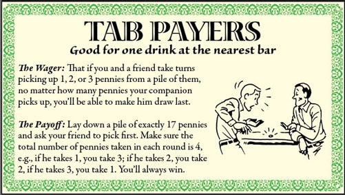 bar games tricks pile of pennies