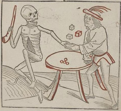 15th century dance of death woodcut art