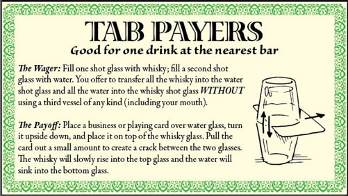 bar game trick water whiskey shot glass illustration