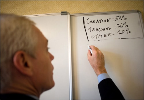 Jim Collins writing on whiteboard.