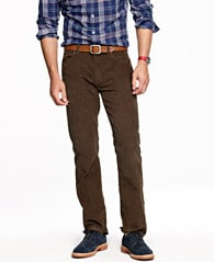 Brown pants with check button up shirt.
