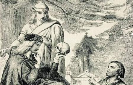 hamlet holding skull shakespeare black white drawing