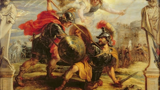 death of achilles at hector's sword trojan war painting
