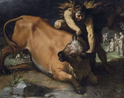 painting hercules fighting grabbing bull by horns