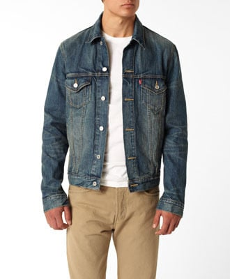 jean denim jacket over white shirt with khaki pants