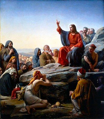 Jesus on rock teaching crowds painting.