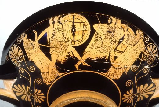menel and paris fighting pottery engraving