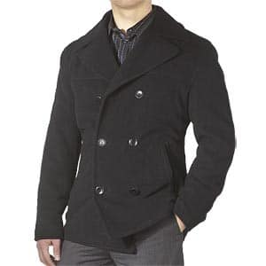 pea coat double breasted over shirt gray pants
