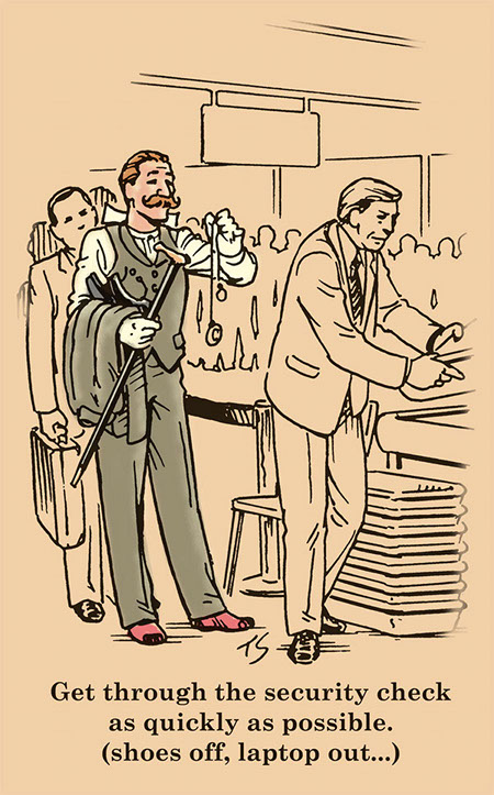 Gentleman in suit getting through the security check line at airport illustration.
