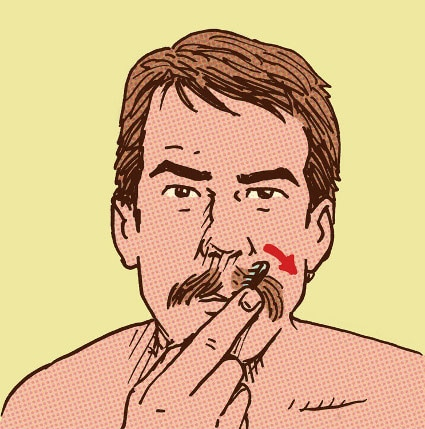 man combing handlebar mustache illustration