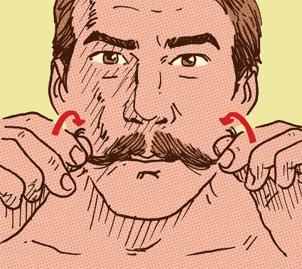 man curling tips of handlebar mustache illustration