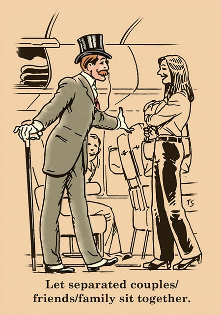 Gentleman requesting woman to have his seat in airplane illustration.