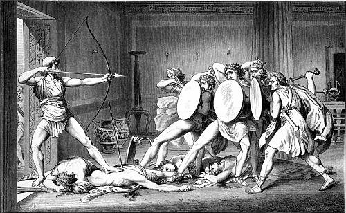 Black & White drawing of Odysseus fighting with group of men.