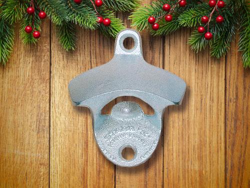 Silver wall mount bottle opener.