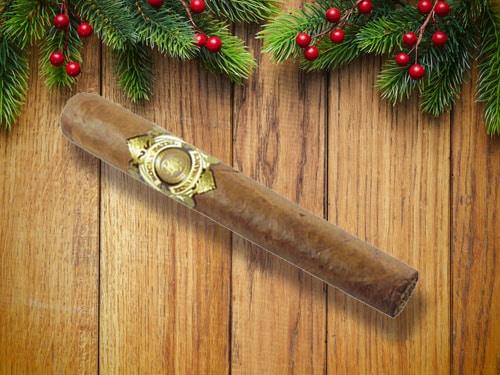 Brown cigar displayed.