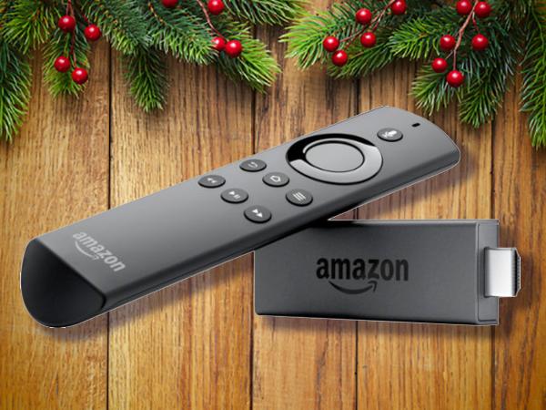 Amazon fire's black TV remote and stick.