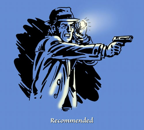 man detective holding flashing near head and gun illustration